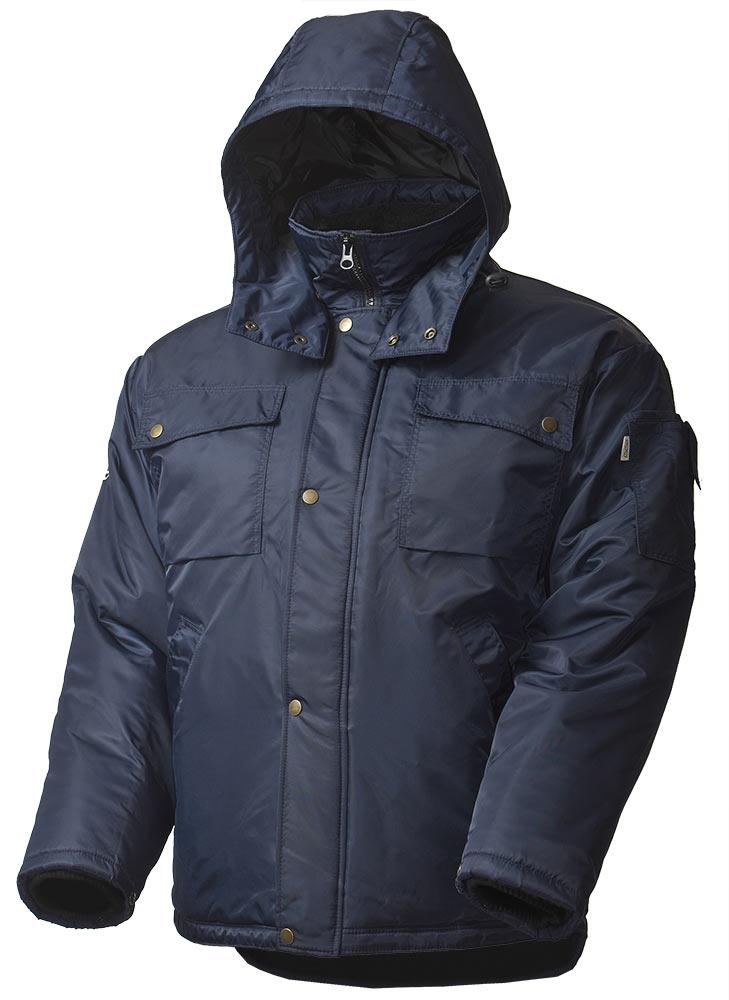 Зимняя куртка мужская рабочая 428C-TWILL-15 на стеганой подкладке с отстегивающимся капюшоном и удлиненной спинкой в интернет-магазине sww.com.ru