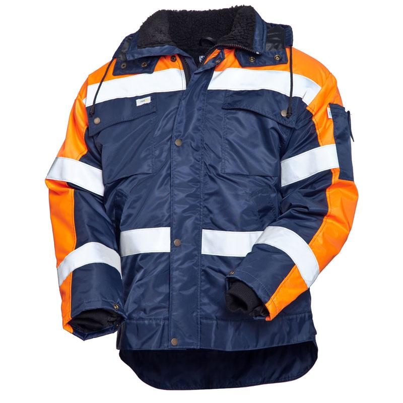Куртка дорожного рабочего зимняя 429-TWILL-15/77 на подкладке из искусственного меха с удлиненной спинкой