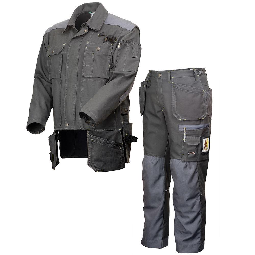 Летний рабочий мужской тёмно-серый костюм 450T-222T-CY-55 из смесовой ткани в интернет-магазине sww.com.ru