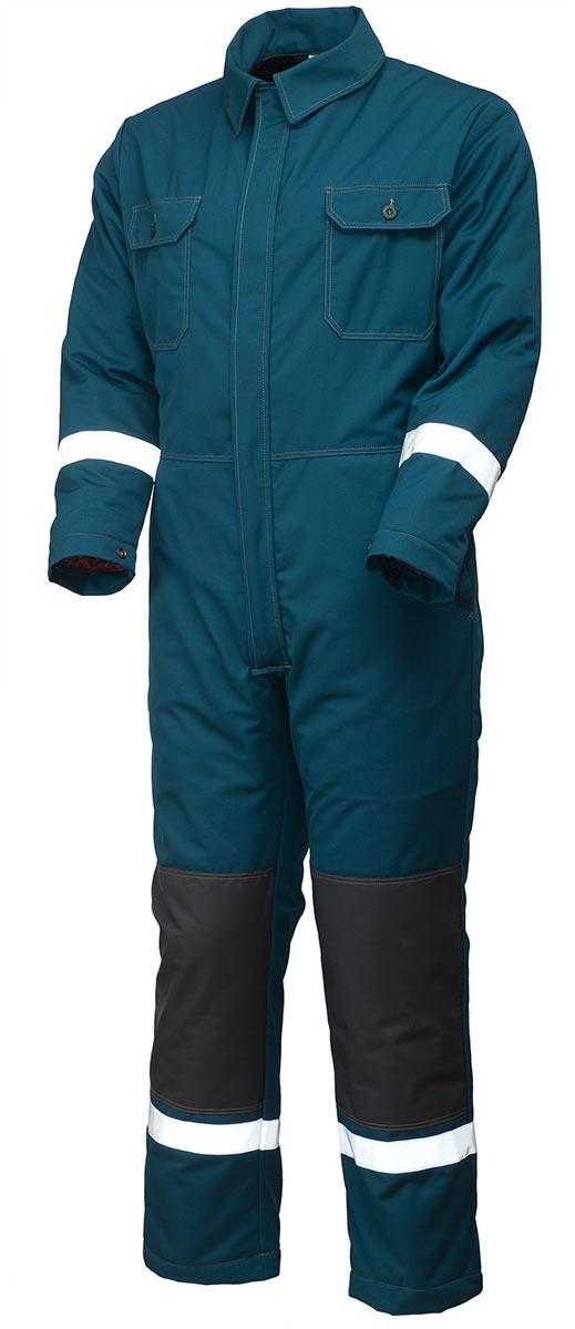 Комбинезон утеплённый рабочий мужской сине-зеленый 890-P154-61 на стеганой подкладке