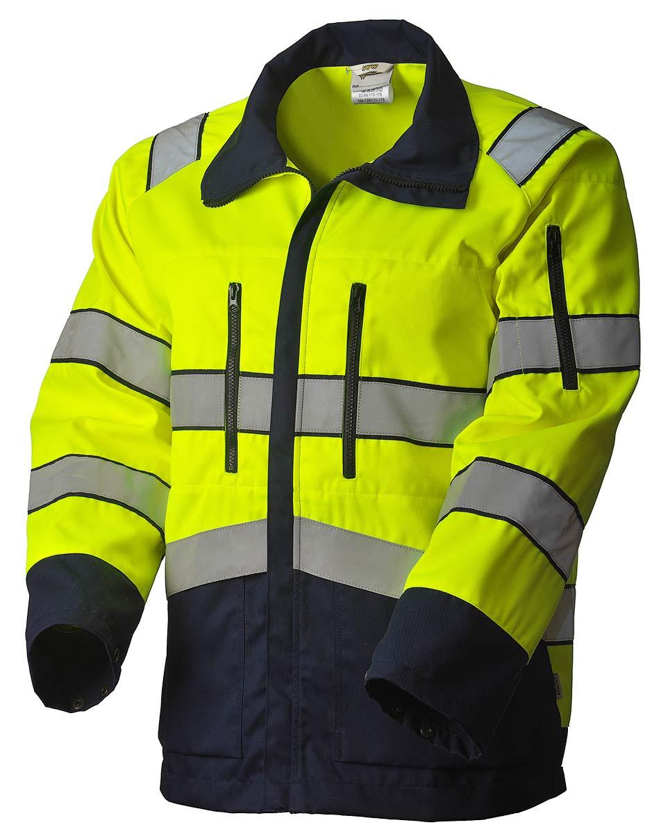 Куртка сигнальная летняя мужская дорожного рабочего жёлто-синяя 4676N-P154-71/15 со световозвращающими лентами