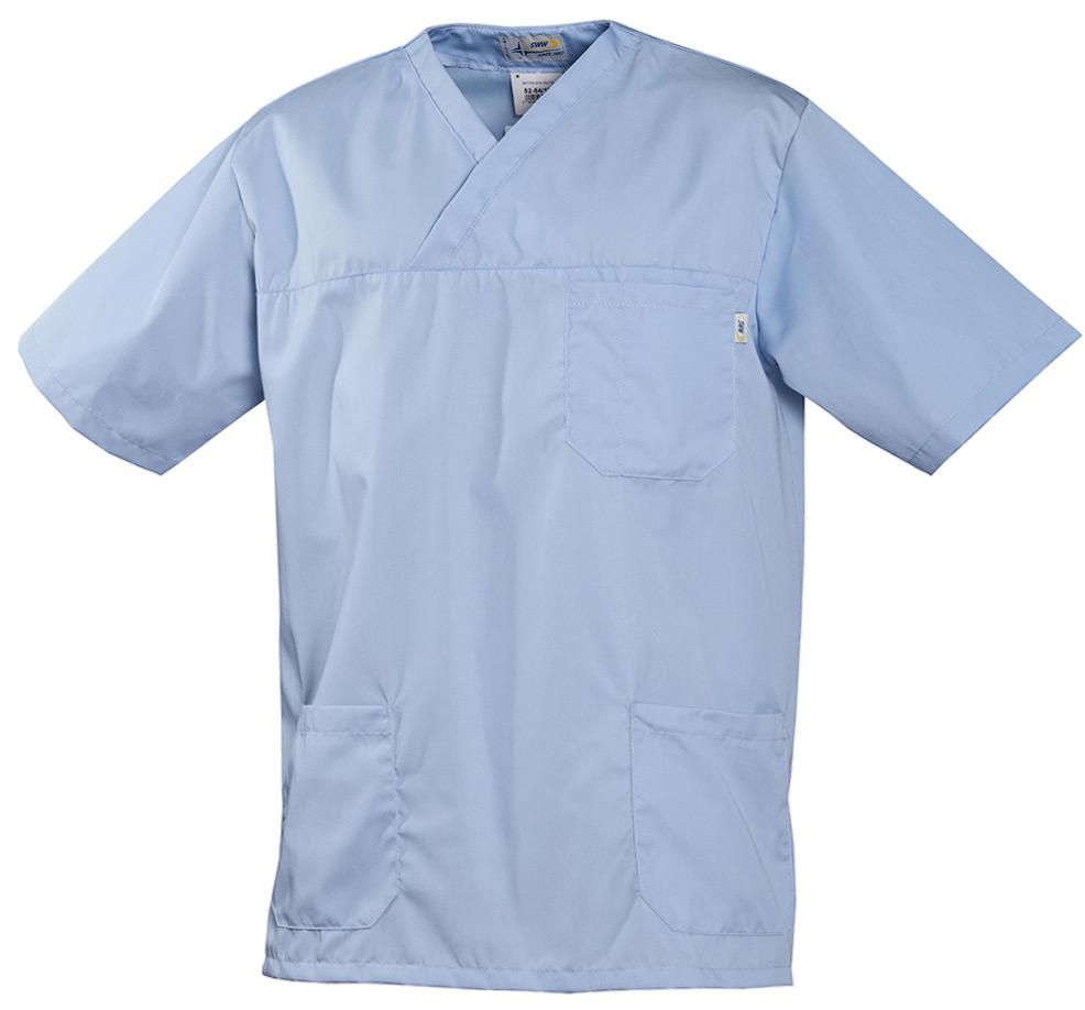 Рубашка мужская голубаяс короткими рукавами 315-SATORI-10 из износостойкой полусинтетики