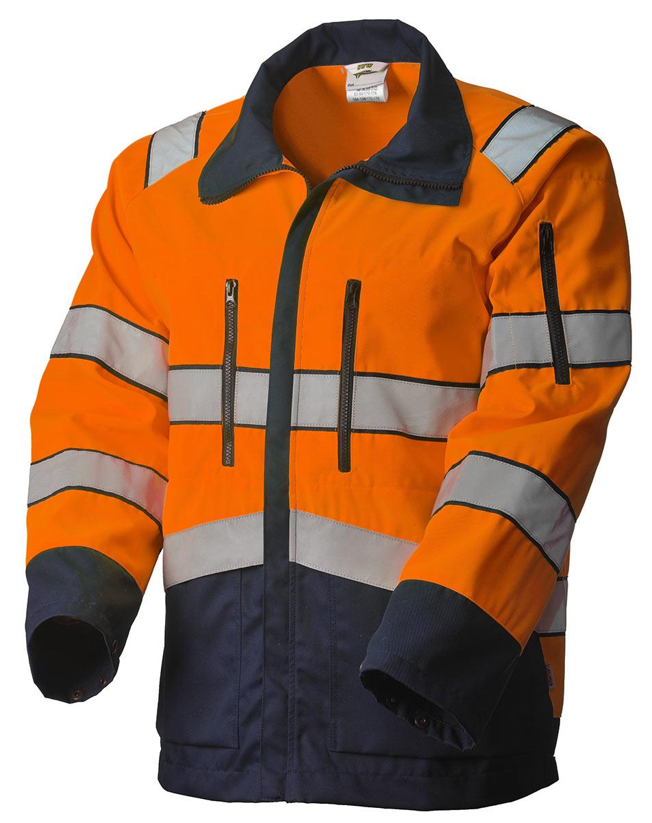 Куртка сигнальная летняя мужская дорожного рабочего оранжево-синяя 4676ND-P154-77/15 со световозвращающими лентами
