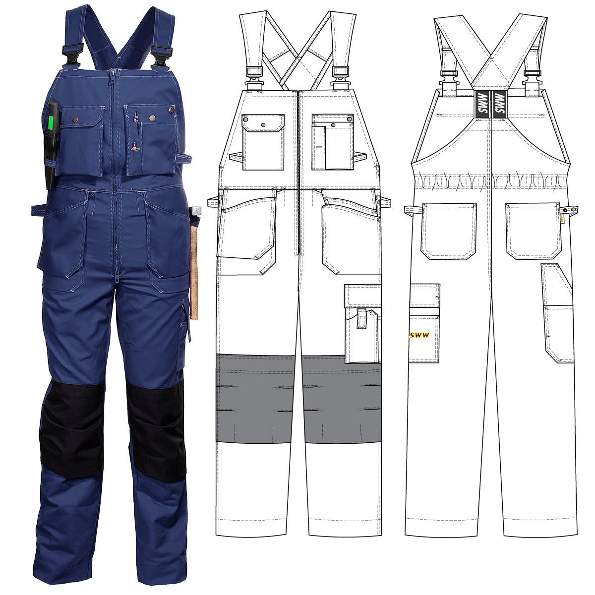 Полукомбинезон рабочий летний тёмно-синий 51-2-P154-14 из смесовой ткани с наколенниками и 12 карманами в интернет-магазине sww.com.ru