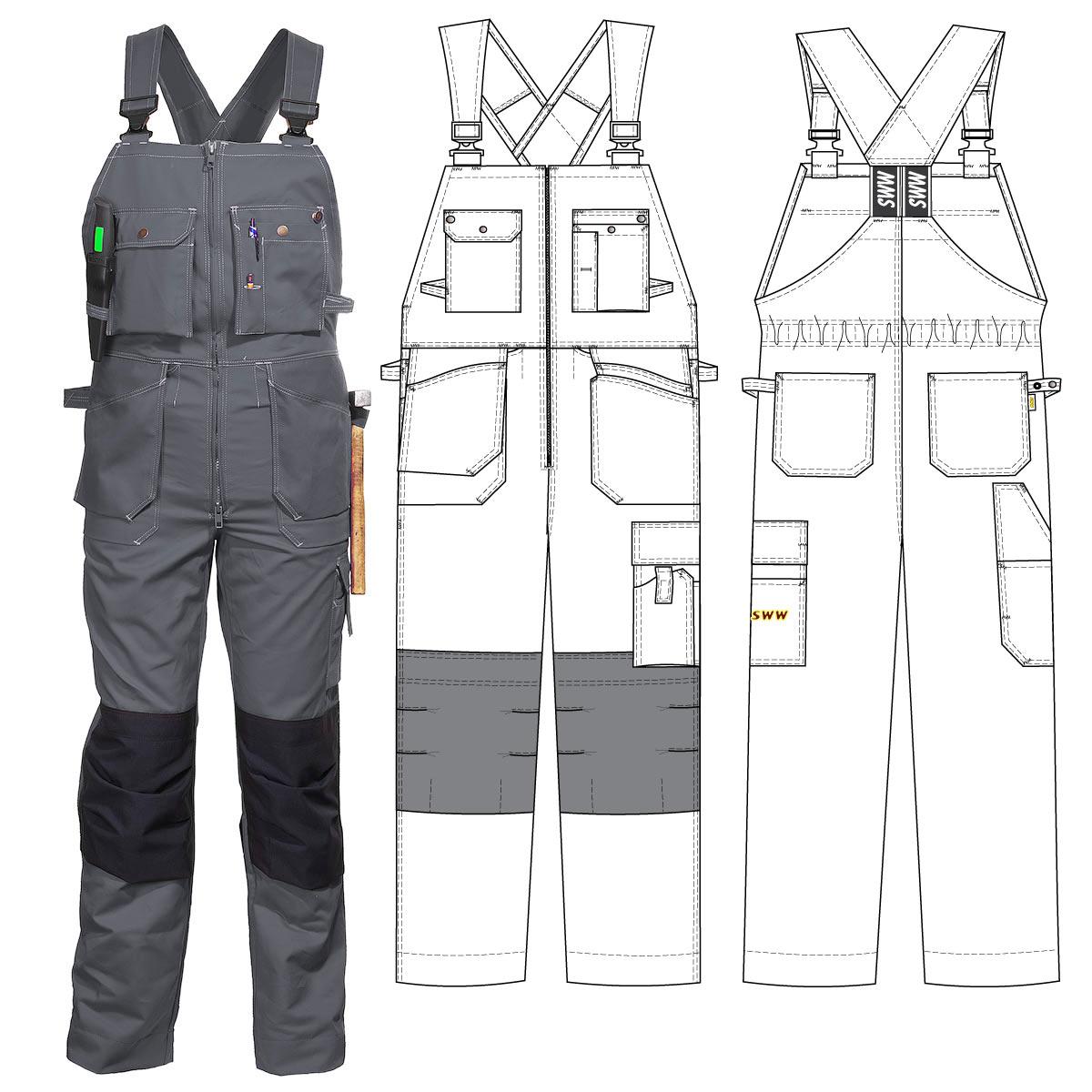 Полукомбинезон рабочий летний тёмно-синий 51-2-FAS-58 из хлопка FAS с наколенниками и 12 карманами в интернет-магазине sww.com.ru