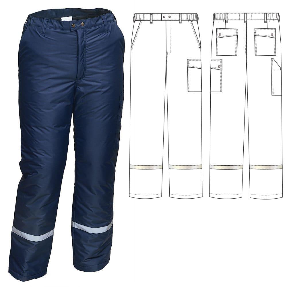 Зимние брюки 207S-PP-15 на стеганой подкладке с узкой световозвращающей полосой ниже колена в интернет-магазине sww.com.ru