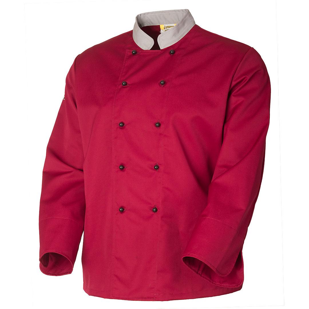 Китель повара бордовый унисекс 379A-P159-83/57 изизносостойкого смесового полотна в интернет-магазине sww.com.ru в розницу и оптом, вид спереди