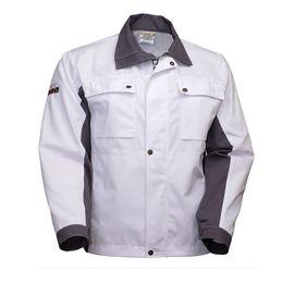 Летняя рабочая белая мужская куртка маляра-штукатура 374M-EASN-00/55, вид спереди