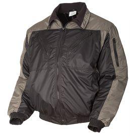 Демисезонная укороченная двухцветная чёрная/серая куртка пилот (бомбер) 442NU-TASLAN-90/51 из прочного износостойкого полотна в розницу и оптом в интернет-магазине sww.com.ru вид спереди