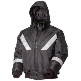 Зимняя мужская рабочая укороченная куртка (пилот) на стеганой подкладке с капюшоном и СВЛ442KCR-OXFORD-90 в интернет-магазине sww.com.ru Вид спереди