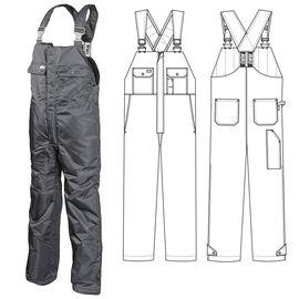 Полукомбинезон большого размера зимний рабочий мужской серый 42ACBIG-TWILL-58 на стеганой подкладке